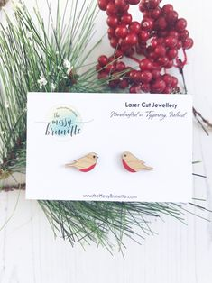 Bird Earrings, Simple Earrings, Spring Song, Customised Gifts, Laser Cut Jewelry, Christmas Themes, Christmas Gifts, Make Your Own Jewelry, Laser Cut Wood