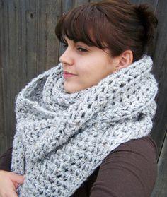 Oversized crochet cowl/infinity scarf Heather Grey