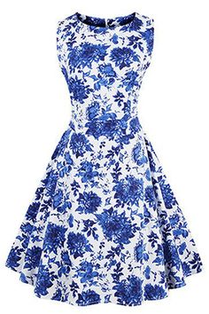 Women's vintage elegant swing dress featuring unique retro blue-and-white porcelain pattern and modest bateau neckline with full circle swing skirt.  https://atomicjaneclothing.com/products/atomic-vintage-floral-print-sleeveless-casual-swing-dress-3