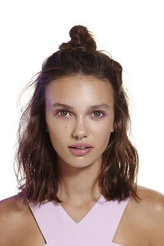 Short hair top knot style