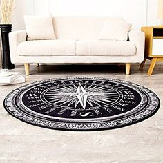 Amazon.com: Wolala Home™Fashion Creative Compass Round Rug and Carpet Black and White Area Rugs Large 5 Feet Thin (5'0x5'0): Kitchen & Dining