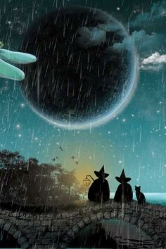 2 witches and a cat and the moon and rain... nice