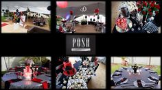 Posh masculine 40th birthday party setup - the perfect combination of a glitzy cocktail event and a formal sit-down dinner - red black and silver