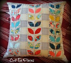 Cosmos Pillow Complete by Cut To Pieces Patchwork Cushion, Quilted Pillow, Pillow Inspiration, Mini Quilts, Circle Quilts, Colorful Quilts, Fabric Scraps, Scrap Fabric, Quilt Making