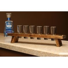 Shooter shot glass set holder carrier Tequila Whiskey Vodka Rum Scotch bar wedding gift man cave groomsmen bridesmaids