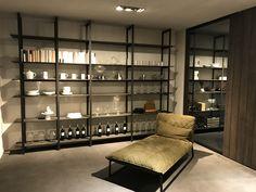 Roomdivider met metalen staanders en melamine, Rovere Carbone, planken...