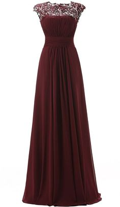 Custom Made,Burgundy Prom Dresses,Sexy See Through Evening Dress,Chiffon
