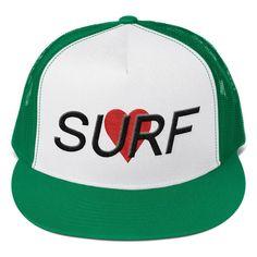 """Surf Love"" Embroidered Snapback Trucker Hat | Flat Bill"