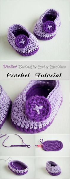 Just Be Crafts: Crochet Violet Butterfly Baby Booties