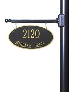 Whitehall Hanging Oval Address Plaque