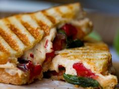 Tomato Basil Roasted Pepper Vegan Panini