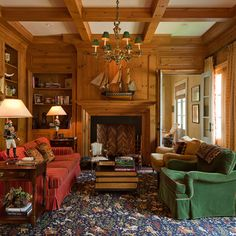 library with pine paneling and ceiling beams - William T Baker, www.wtbaker.com - photo James Lockheart