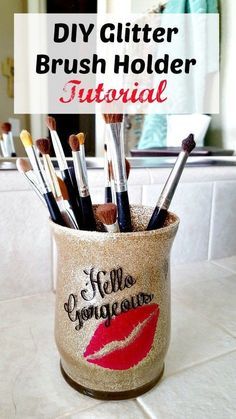Makeup Glitter Brush Holder DIY Tutorial ~ So Easy and Fun! - Leap of Faith Craf. - Makeup Glitter Brush Holder DIY Tutorial ~ So Easy and Fun! – Leap of Faith Crafting - Glitter Shirt, Glitter Make Up, Glitter Cups, Glitter Force, Glitter Bomb, Glitter Tumblers, Glitter Slides, Glitter Gif, Glitter Converse