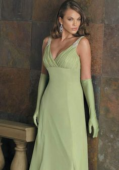 Wholesale Cheap 2014 A-line V-neck Straps With Beadings Green Empire Waist Wrinkle Inviting Dress