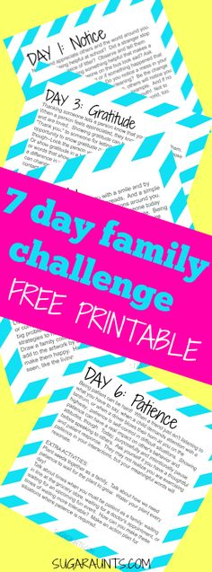 7 Day Be the Change Family Challenge 7 Day Challenge for inspiring good and change. Take this challenge, loaded with easy activities that families and kids can do together for one week and be an inspiration of good, gratitude, and kindness by blessing and Family Home Evening, Family Night, Family Kids, Therapy Activities, Learning Activities, Activities For Kids, Indoor Activities, Kindness Challenge, 7 Day Challenge