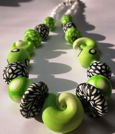 Pavla Cepelikova, Damascus Dreams necklace in lime and b/w