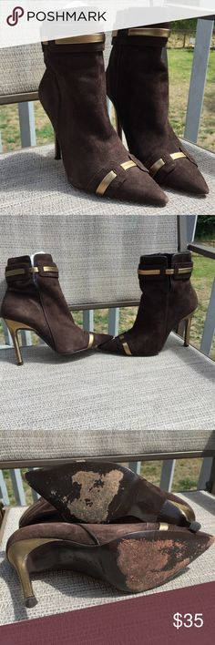 "❗️HP❗️Laundry by Shelli Segal suede stiletto Mocha suede & gold leather.  Excellent condition besides scuffs pictured on bottom of shoes. 3.5"" heel snip toe stiletto booties. Laundry by Shelli Segal Shoes Ankle Boots & Booties"