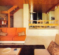 seventies interiora | Super Seventies - The great '70s interior decor combination of... orange and wood.  Why are the walls always beige?