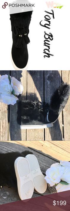 Authentic Tory Burch Angelica fur booties Brand new without box! TORY BURCH 'Angelica' boots Black leather 'Angelica' boots from Tory Burch. leather 100% Sole Composition: rubber 100% rabbit fur 100% DESIGNER BACKSTORY Put in bundle and get free shipping on 1 or more items Tory Burch Shoes Ankle Boots & Booties