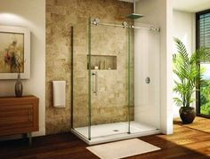Glass shower enclosure that takes up little space