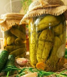ogórki w miodowej zalewie Pickles, Cucumber, Food And Drink, Recipes, Cooking, Preserves, Dots, Deutsch, Kitchen