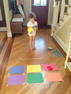 Construction paper and bean bags. Color matching and gross motor. Could also use different color baskets. Construction paper and bean bags. Color matching and gross motor. Could also use different color baskets. Toddler Fun, Toddler Learning, Fun Learning, Learning Activities, Toddler Games, Family Activities, Physical Activities, Movement Activities, Preschool Colors