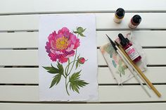 Peony  original watercolor illustration by oanabefort on Etsy, $118.00