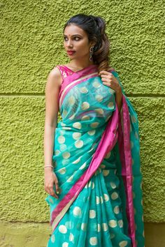 Sea green cotton Kota saree with zari polka dots and pink border #saree #blouse #houseofblouse #indian #bollywood #style #pink #seagreen #gold #polka #dots #cotton #kota