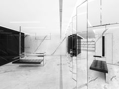 From its sleek, monochromatic colour palette and clean, architectural lines, to the fact that it looks more like an art gallery than a retail space, the newly Ysl Store, Paris Store, Yves Saint Laurent, Saint Laurent Store, Luxury Interior Design, Interior Architecture, Minimalist Home Interior, Retail Space, Hotel Lobby