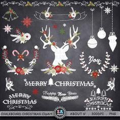 Chalkboard Christmas Clipart  CHRISTMAS CLIPART pack  by SAClipArt