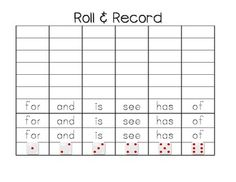 Daily 5 Literacy Station Sight Word Fun!  Roll and Record
