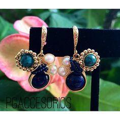 Handmade #pgaccesorios #chapadeoro #aretes #earrings #handmade #handmadejewelry #jewelry #joyeria #hechoamano #hechoenmexico #lapislasuli #turquesa #perla