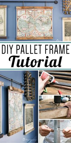OMG, this DIY art is amazing. I love that this blogger made art frames from pallets and that she hung them from industrial pipe. So cool!