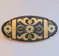 Vintage Spanish Damascene Brooch with Trombone by BorrowedTimes