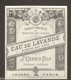 10 ETIQUETTES PARFUM : EAU DE LAVANDE BLANCHE DES ALPES de GIRAUD