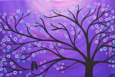 I love this picture!!  SALE Purple Whimsical Two Birds in a Tree Painting by louisemead, £70.00