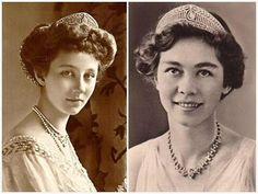 Tiara owned by Queen Sofia of Spain. Made for Princess Victoria Louise of Prussia as a present from her father, Kaiser Wilhelm II, when she married Prince Ernst August of Hanover in 1913. Victoria Louise gave it to her daughter Princess Frederika, who married the future King Paul of Greece.  Sofia is Frederika's daughter.