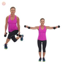 A) Start standing tall with feet shoulder distance apart and dumbbells in hands alongside legs. B) Cross right foot behind left leg landing on the ball of back foot with both knees bent. C) Step right foot back to start position and lengthen arms out to your side with a slight bend in the elbow. …