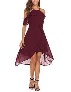 21ca81be1a Chimikeey Women Halter Cold Shoulder High Low Casual Flowy Beach midi  Chiffon Dress