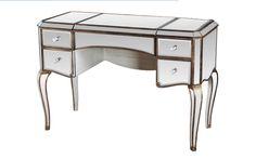 The Eye-Catching Ladonna Silver Mirrored Gold Trim Vanity Table #mirroredvanity #vanitytable #makeupvanity