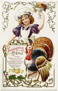 thanksgiving menu vintage postcard, free vintage postcard graphic, old fashioned thanksgiving, turkey postcard, thanksgiving clipart