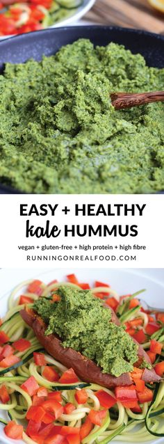 Try adding kale to your hummus for an extra nutritional punch to an already healthy dish! Excellent as a dip, spread, salad topper or anything else you can think of. Vegan, gluten-free, high in protein and fibre. Recipe: http://runningonrealfood.com/kale-hummus/