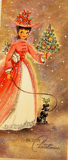 Vintage Christmas Card ~ C irca ~ A gorgeous design of a pretty Victorian lady in pink holding a mini Christmas tree walking with her black poodle dog. Vintage Christmas Images, Antique Christmas, Christmas Past, Retro Christmas, Vintage Holiday, Christmas Pictures, Christmas Crafts, Christmas Clipart, Christmas Greetings