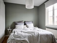 #interiordesign Bedroom in grey, green and white