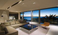 wohnzimmer ecksofa modernes luxus ferienhaus mit ozean blick