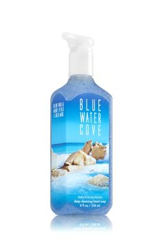 Blue Water Cove - Deep Cleansing Hand Soap - Bath & Body Works - Like a 60-second manicure, our Deep Cleansing Hand Soap is specially formulated with skin-renewing microspheres to effectively cleanse and exfoliate. Now enriched with nourishing Aloe and protective Vitamin E, our cleanest rinse ever leaves hands feeling soft, smooth and lightly scented!