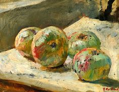 Édouard Vuillard (French, 1868-1940), Quatre pommes, c.1889-90  I like the colours about this paintings. its soft but still detailed.