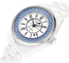Fenlon Women's White Ceramic Link Bracelet Watches Blue Crystal Watch | Your #1 Source for Watches and Accessories