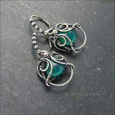 Strukova Elena - author's jewelry - earrings with green onyx