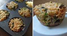 gezonde hartige taartjes  - met broccoli, zilvervliesrijst, 2 eieren, geraspte kaas, peper en muffin vorm
